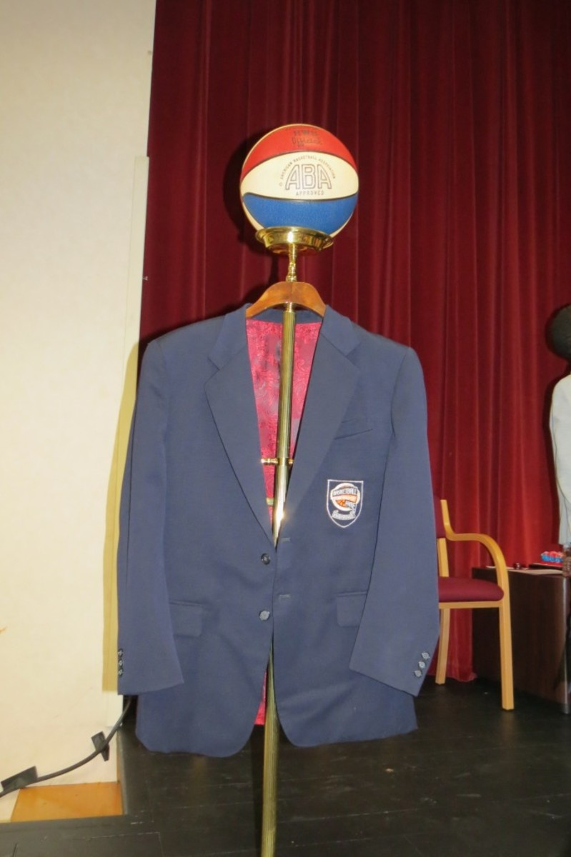 The jacket that Roger Brown received when he was posthumously inducted into the Naismith Memorial Basketball Hall of Fame in 2013, is displayed prior to being returned to his family after nearly being auctioned off to a private collector earlier this year.