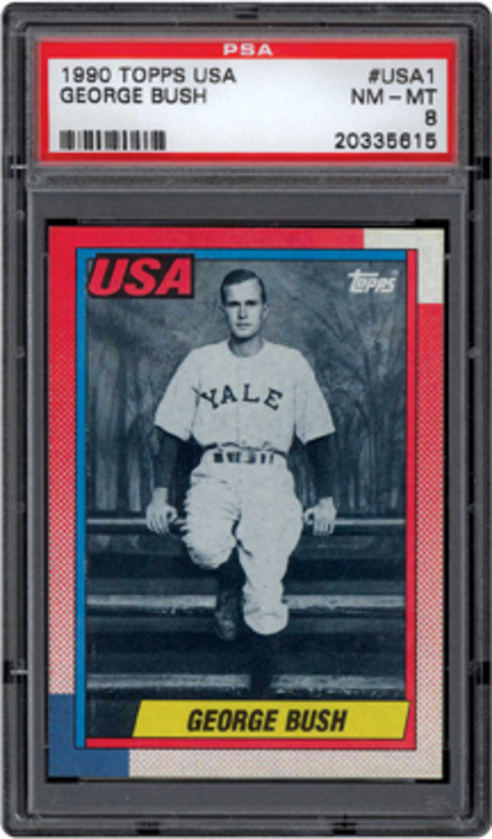 The 1990 George Bush cards not issued directly to the President have a surface similar to other Topps baseball cards issued in 1990. (Photo courtesy of Professional Sports Authenticator.)
