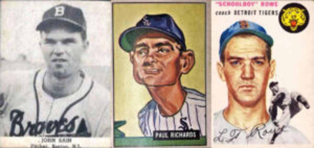 The 1947 Tip Tops, 1951 Bowman Paul Richards and 1954 Topps Schoolboy Rowe were of interest to John Rumierz.
