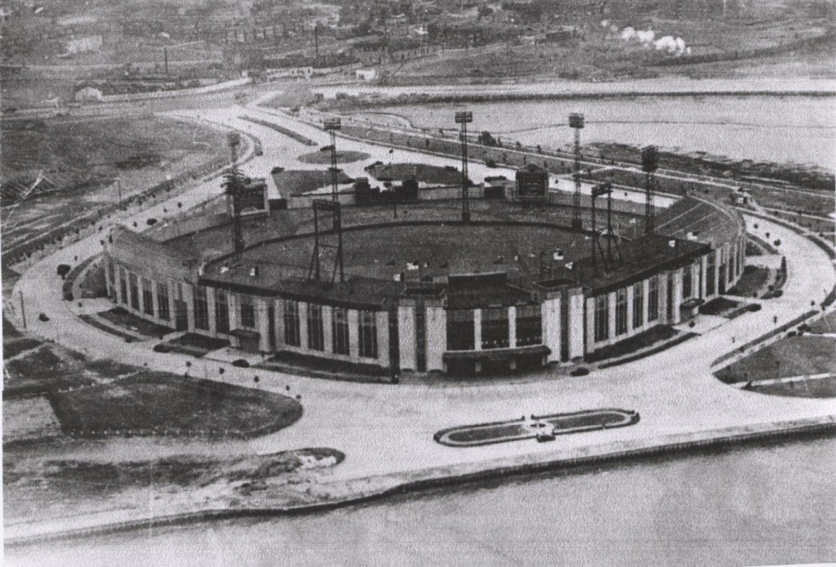 A view of Roosevelt Stadium from the air in the 1950s. The stadium cost $1.5 million to build and housed a number of minor league teams in its tenure at Droyer's Point on Newark Bay. Jackie Robinson made his professional debut here.