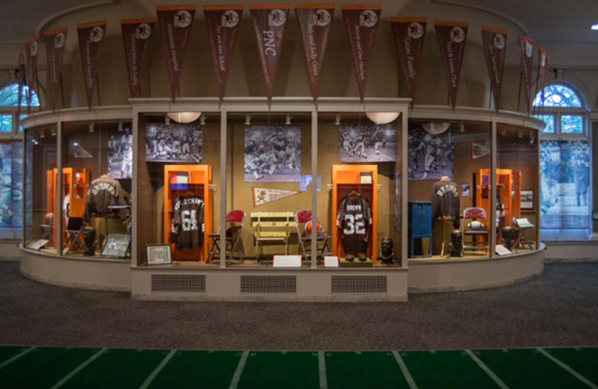 "When Browns Town was Title Town"" includes locker displays, game-used relics and signed memorabilia. Photo courtesy of Robert R. Schleimer, Erie Shore Photography."
