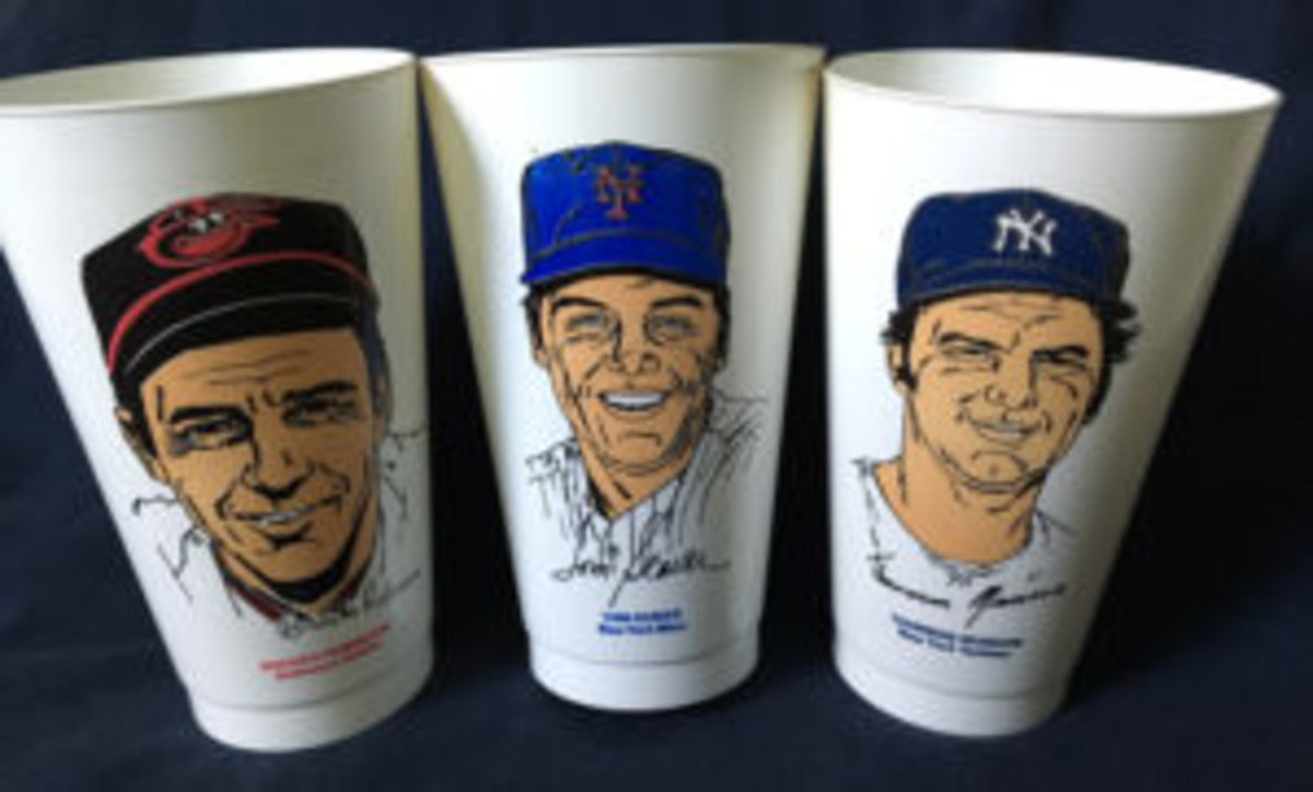 The Brooks Robinson, Tom Seaver, and Thurman Munson 7-Eleven Slurpee cups.