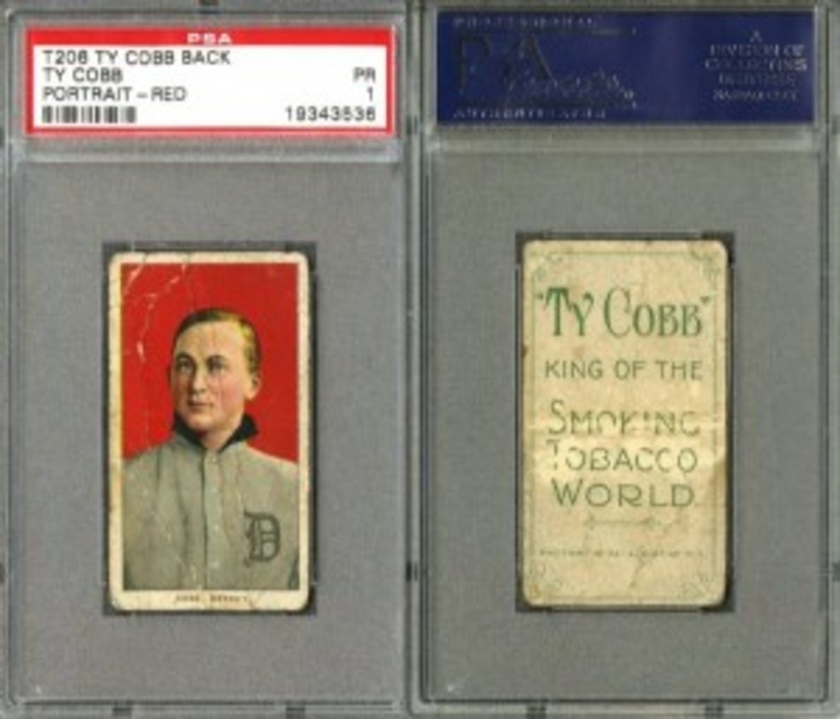 T206 Ty Cobb card with a rare Ty Cobb Tobacco Company back. An estimated 12 known examples are in existence (PSA Graded PR1) - $120,109 - a record for this card in this grade.