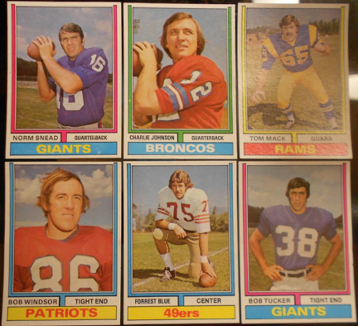 These six card front variations are the most instantly recognizable 1974 Topps Parker Brothers cards, thanks to vertical vs. horizontal layouts and the lack of All-Pro designations. The Forrest Blue cards below highlight one of the differences.