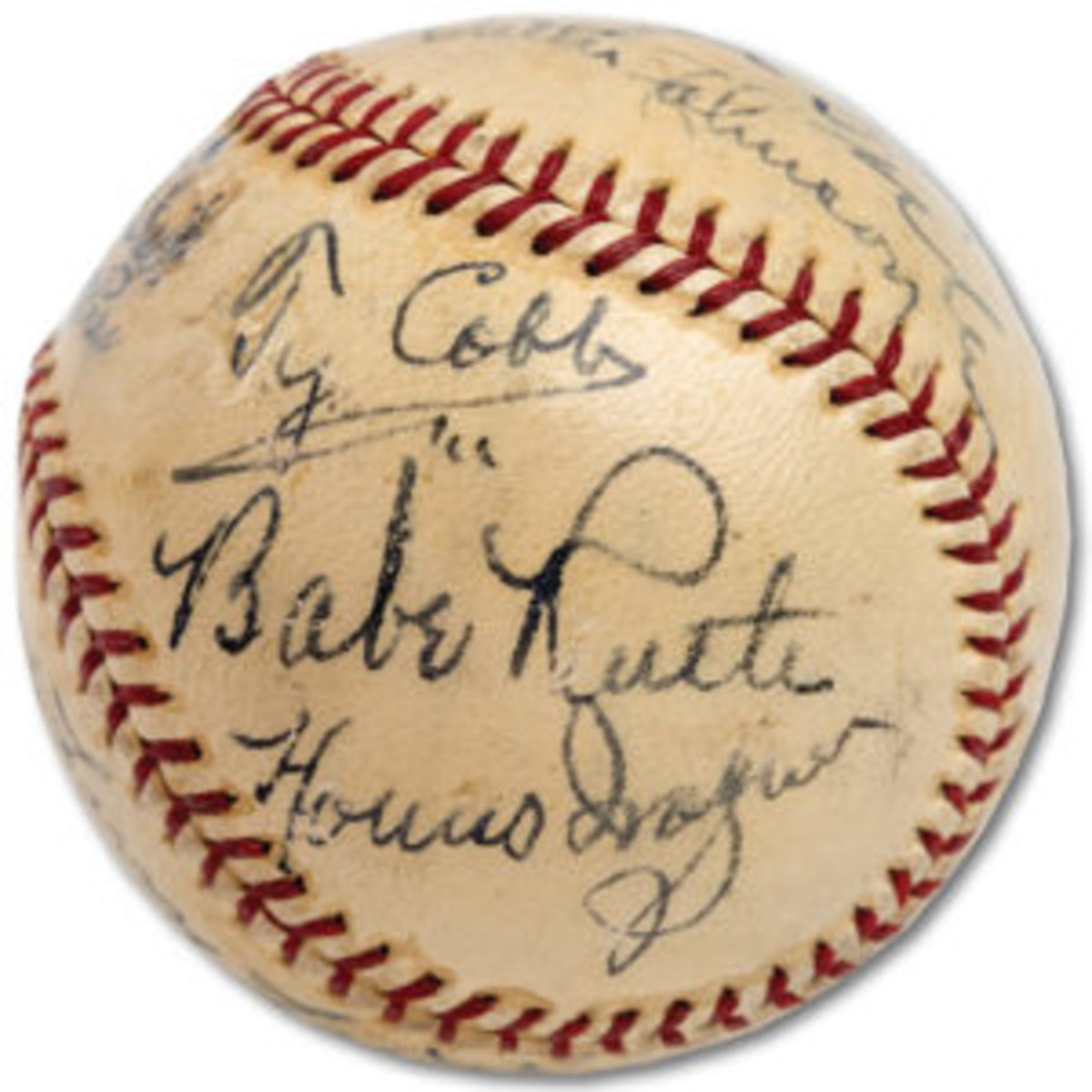 This baseball, autographed by 11 members of the Baseball Hall of Fame's 1939 inaugural class, sold for $623,369 in August 2018. (Image courtesy PSA)