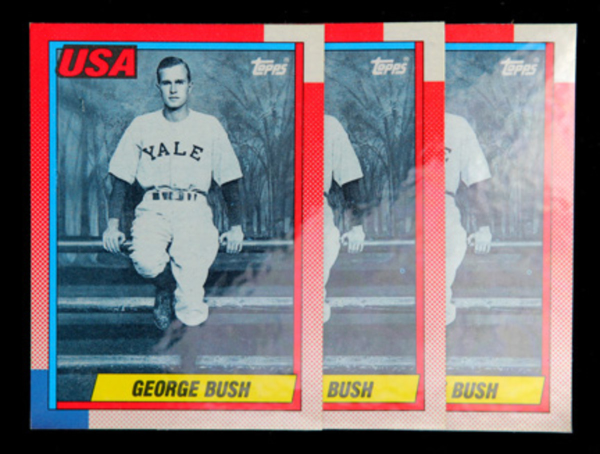 The 1990 George Bush cards given directly to President Bush at the White House have a reflective coating on the surface that is distinctively different from other cards produced by Topps in 1990. (Photo courtesy of Professional Sports Authenticator.)