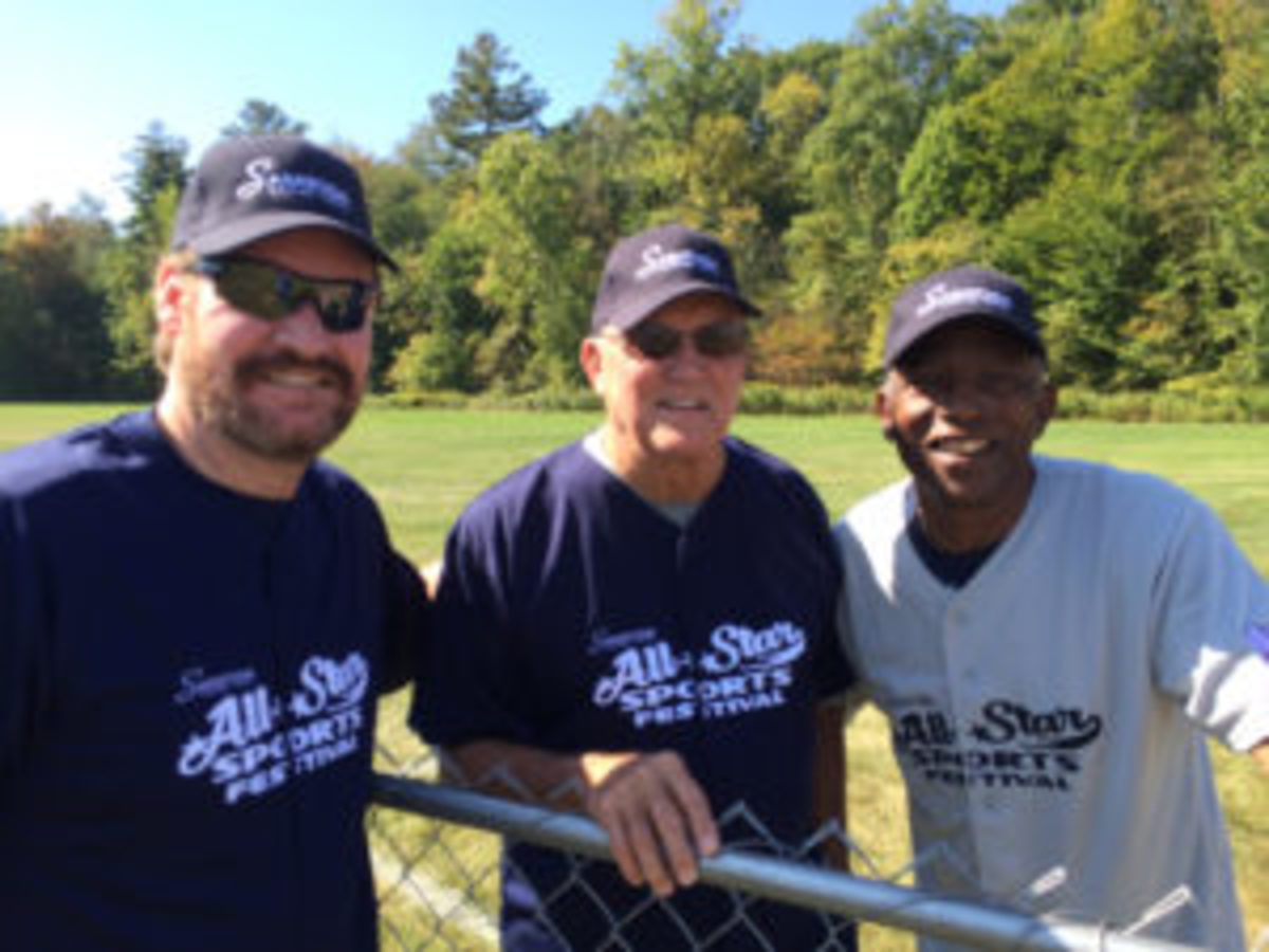 (L to R) Wade Boggs, Graig Nettles and Mickey Rivers at the All-Star Sports Festival in Saratoga Springs, New York. (Paul Post photos)