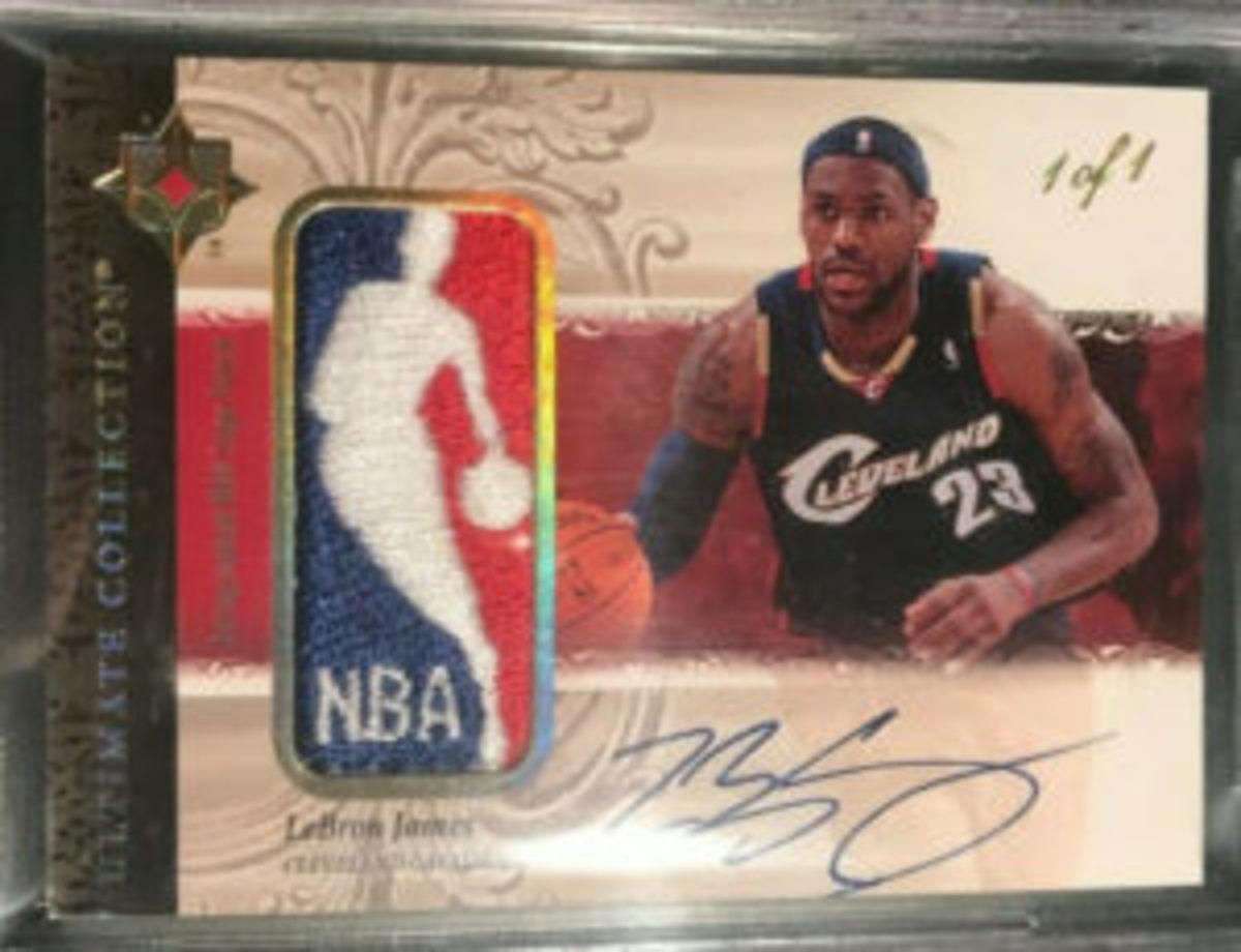 "2006 Upper Desk LeBron James ""Logoman"" card."