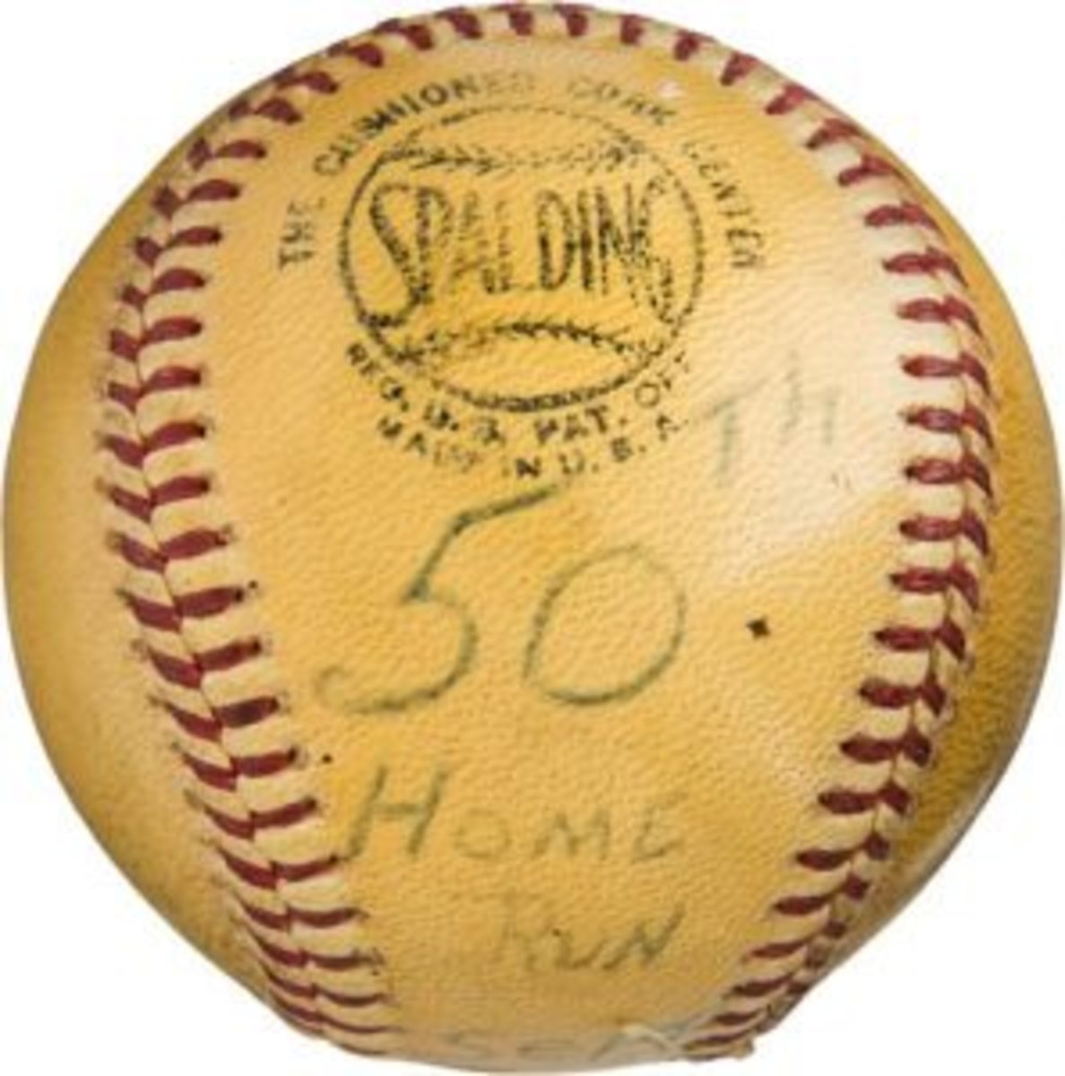 Willie Mays signed home run baseball – No. 50 baseball of 1965 season / No. 503 career. (Photo courtesy Heritage Auctions)