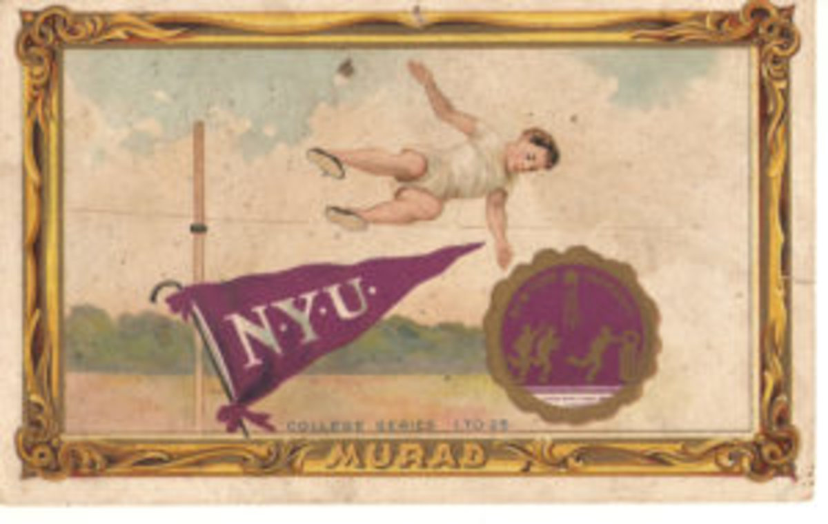 The 1910 T51 Murad Tobacco College Series featured generic athletes including some in track and field.