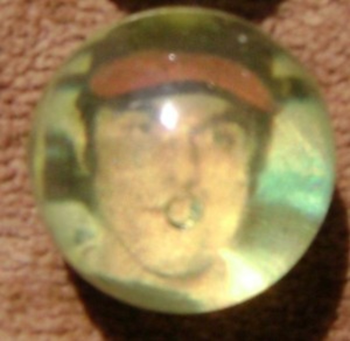 Like a cloudy crystal ball, an image of a ballplayer appears.