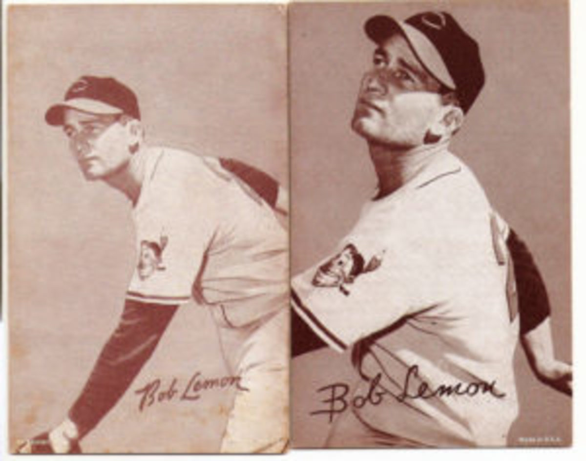 The same photo of Bob Lemon was cropped differently to achieve a new look.