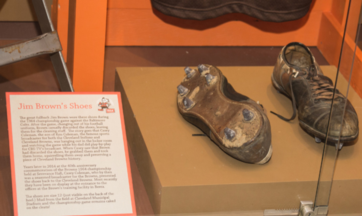 One of the most popular items on display are the game-worn cleats of Jim Brown, complete with mud. Photo courtesy of Robert R. Schleimer, Erie Shore Photography.