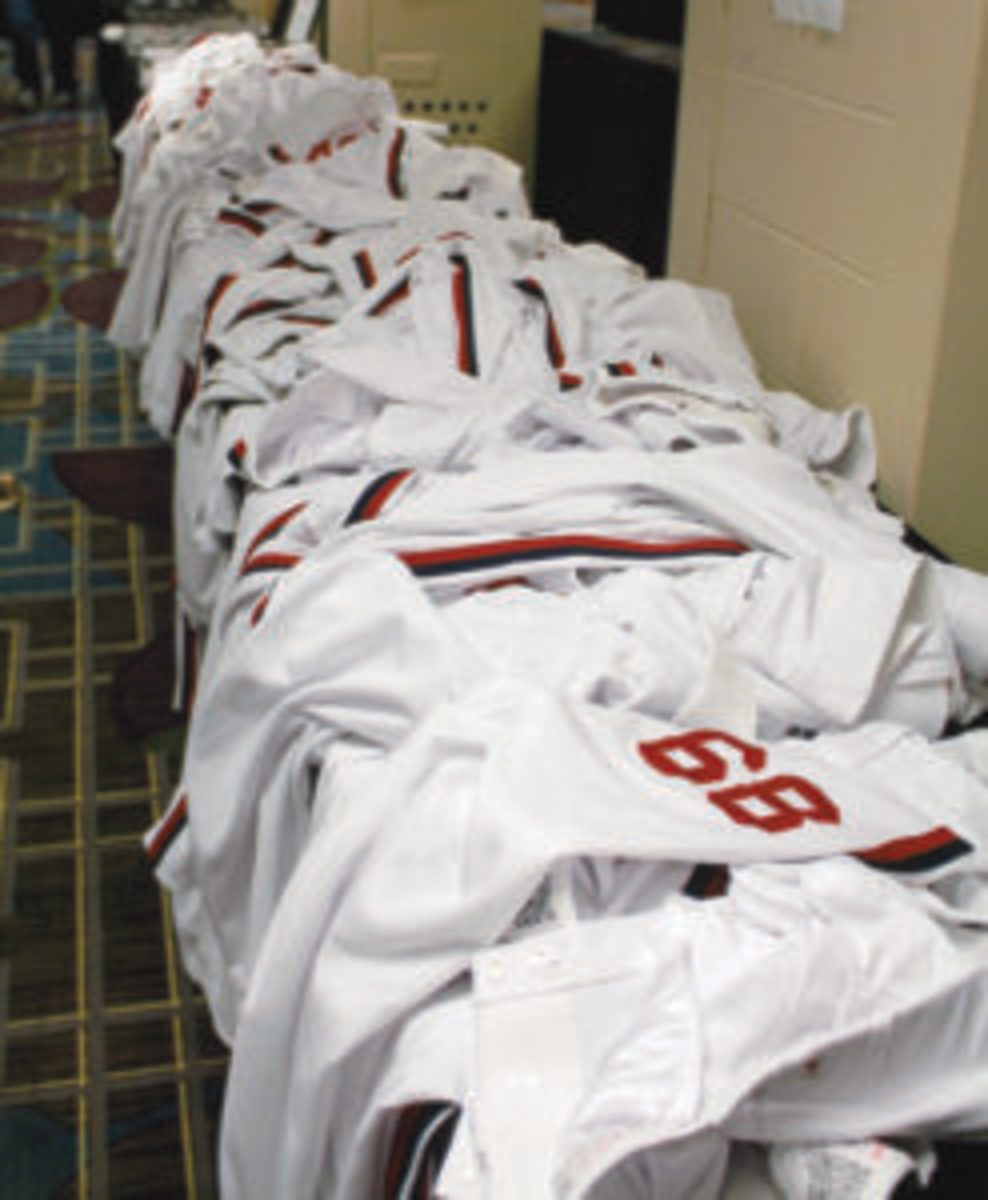 Tables full of game-used pants were available at the Garage Sale at SoxFest 2019.