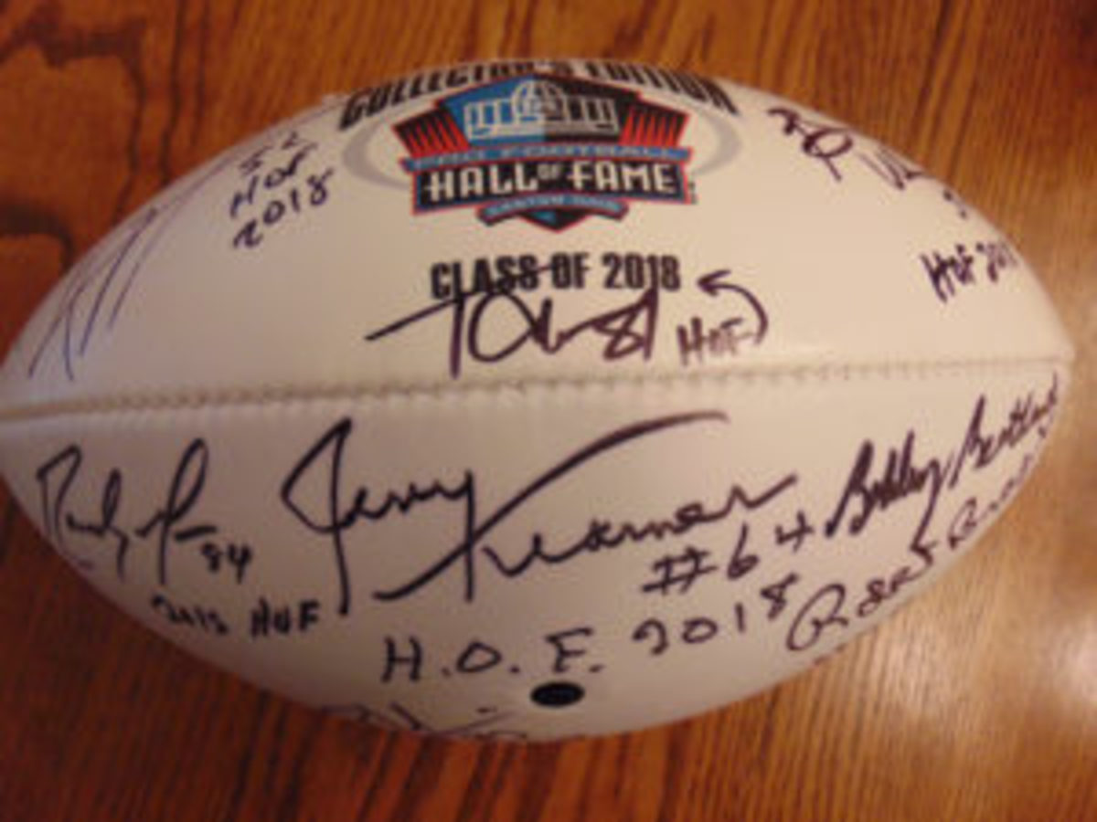 A Class of 2018 Hall of Fame football purchased through the Pro Football Hall of Fame. (Robert Kunz photo)