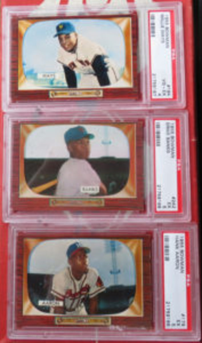 Cards of Willie Mays, Ernie Banks and Hank Aaron were found in the collection.