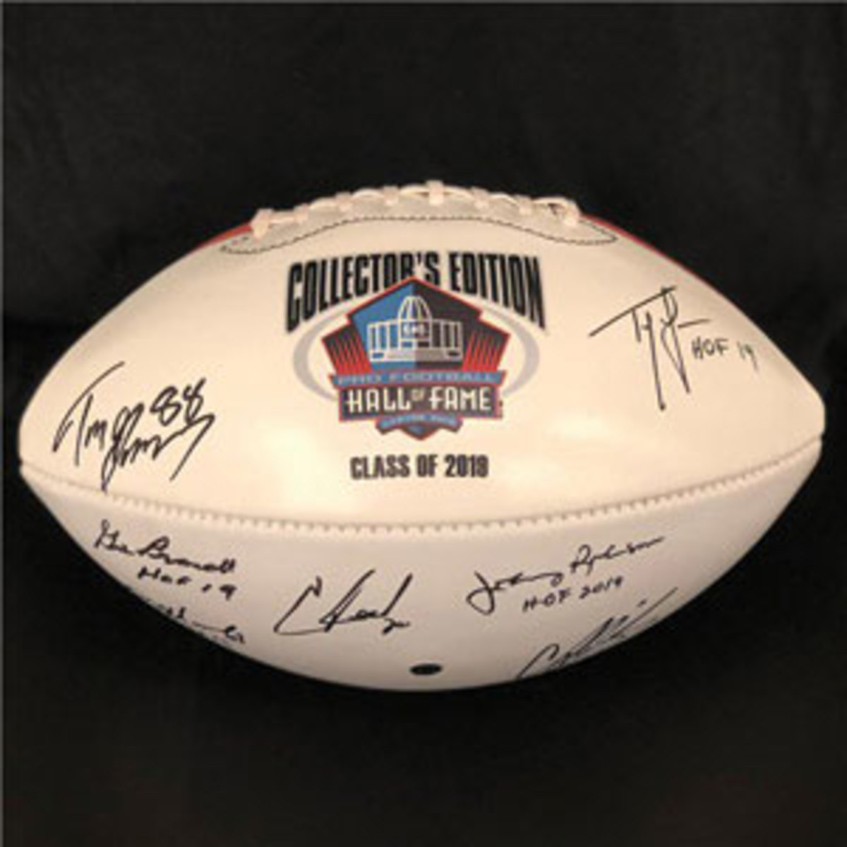 A signed 2019 Hall of Fame football.