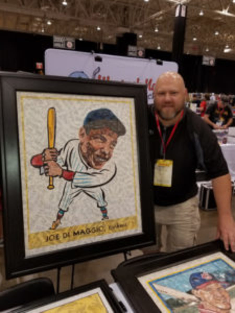 Around 10 years ago Tim Carroll began cutting up common baseball cards and using the pieces to create artwork depicting famous baseball cards from the past. (Ross Forman photos)