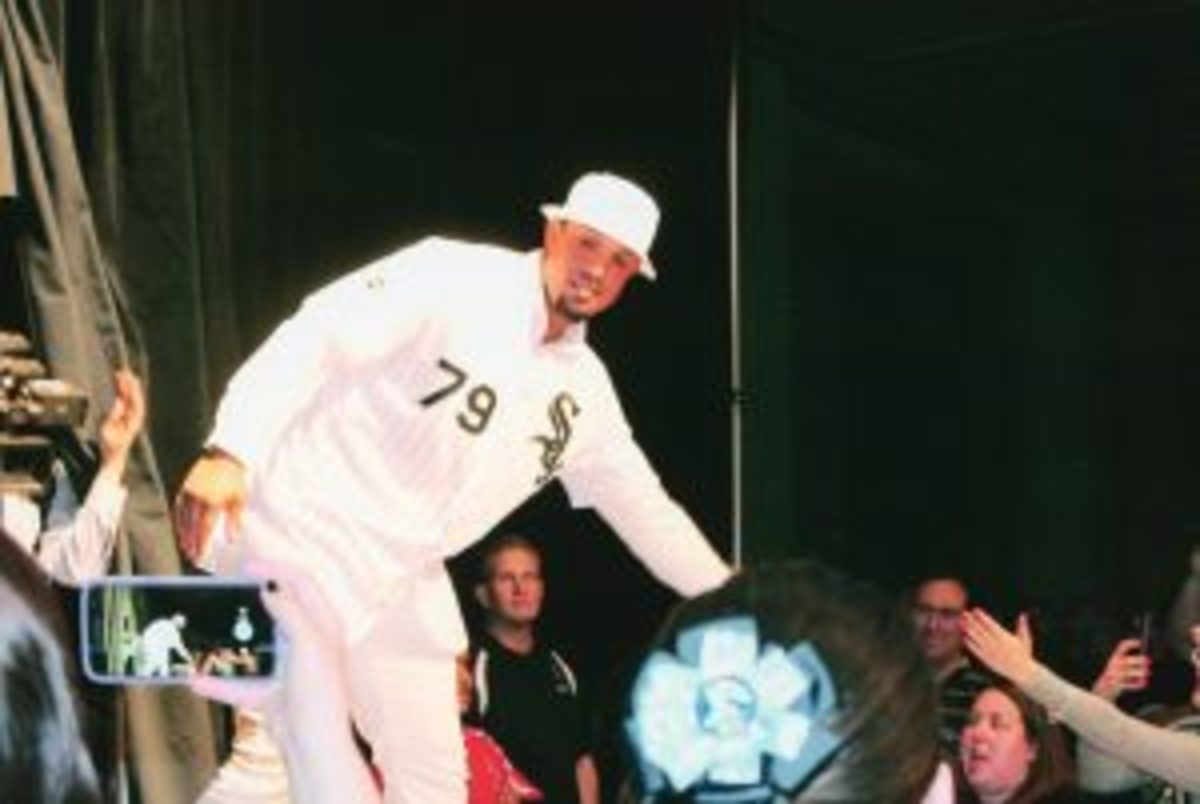 Chicago White Sox first baseman Jose Abreu being introduced at the opening ceremony. (Rick Firfer photos)