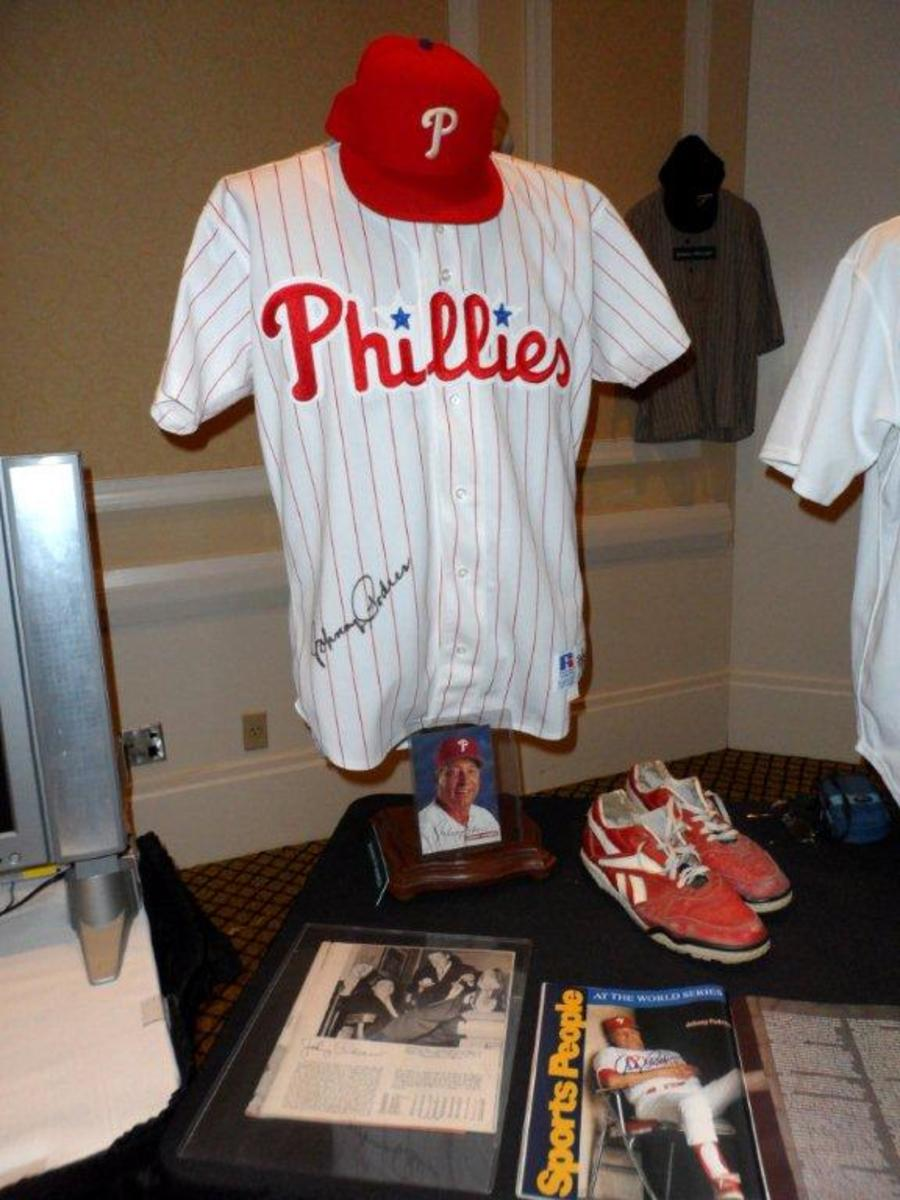 Johnny Podres 1993 Phillies jersey, cap and spikes.