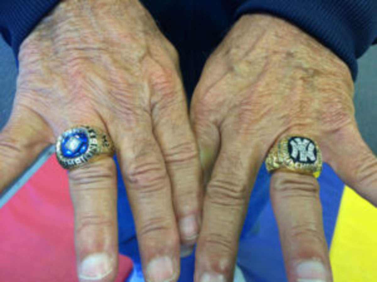 Bucky Dent proudly displays the World Series rings he won with the New York Yankees in 1977 and 1978. (Paul Post photo)