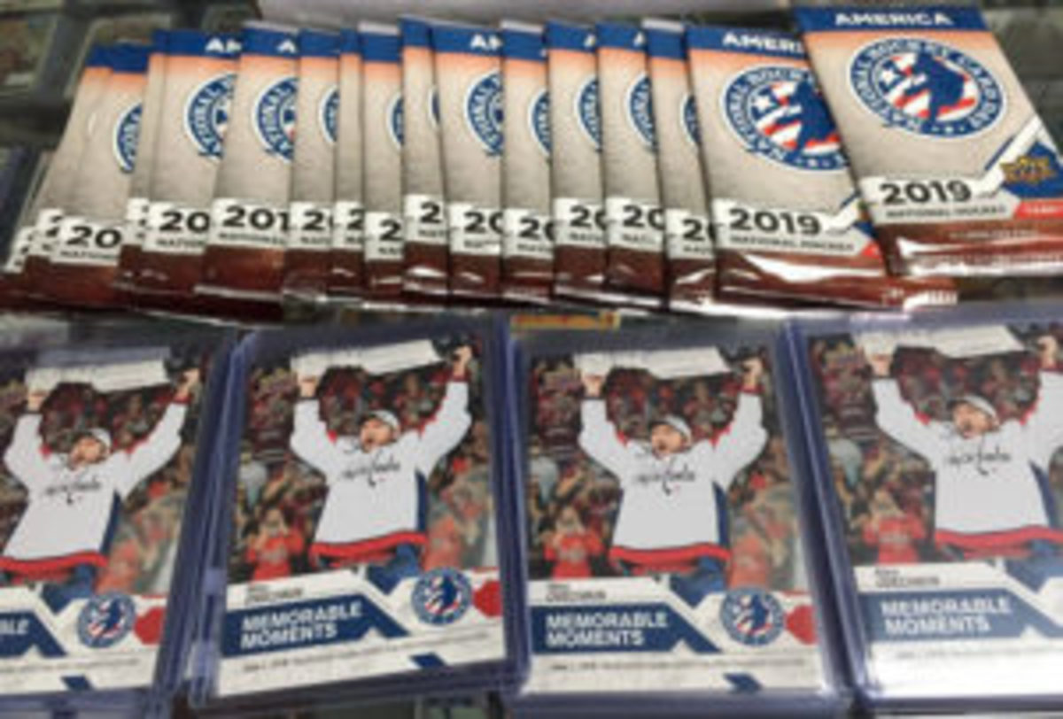 Packs of hockey cards and Alex Ovechkin bonus cards that were available on National Hockey Card Day. (Photo courtesy Triple Play Sports Cards)