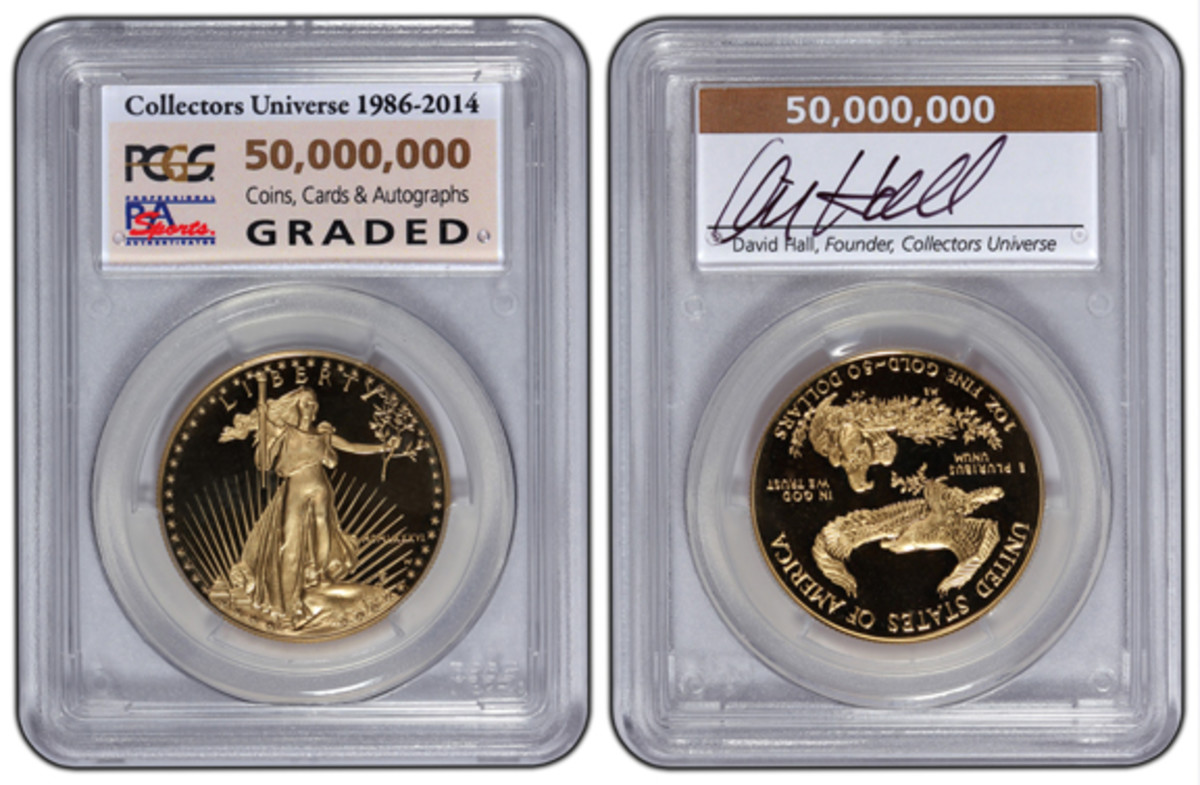 Collectors Universe is awarding the submitter of the 50 millionth item a PCGS-certified 1986 American Eagle one-ounce proof gold bullion coin encapsulated with a special 50,000,000 insert label autographed by Collectors Universe President and Founder David Hall. (Photo credit: Professional Coin Grading Service.)