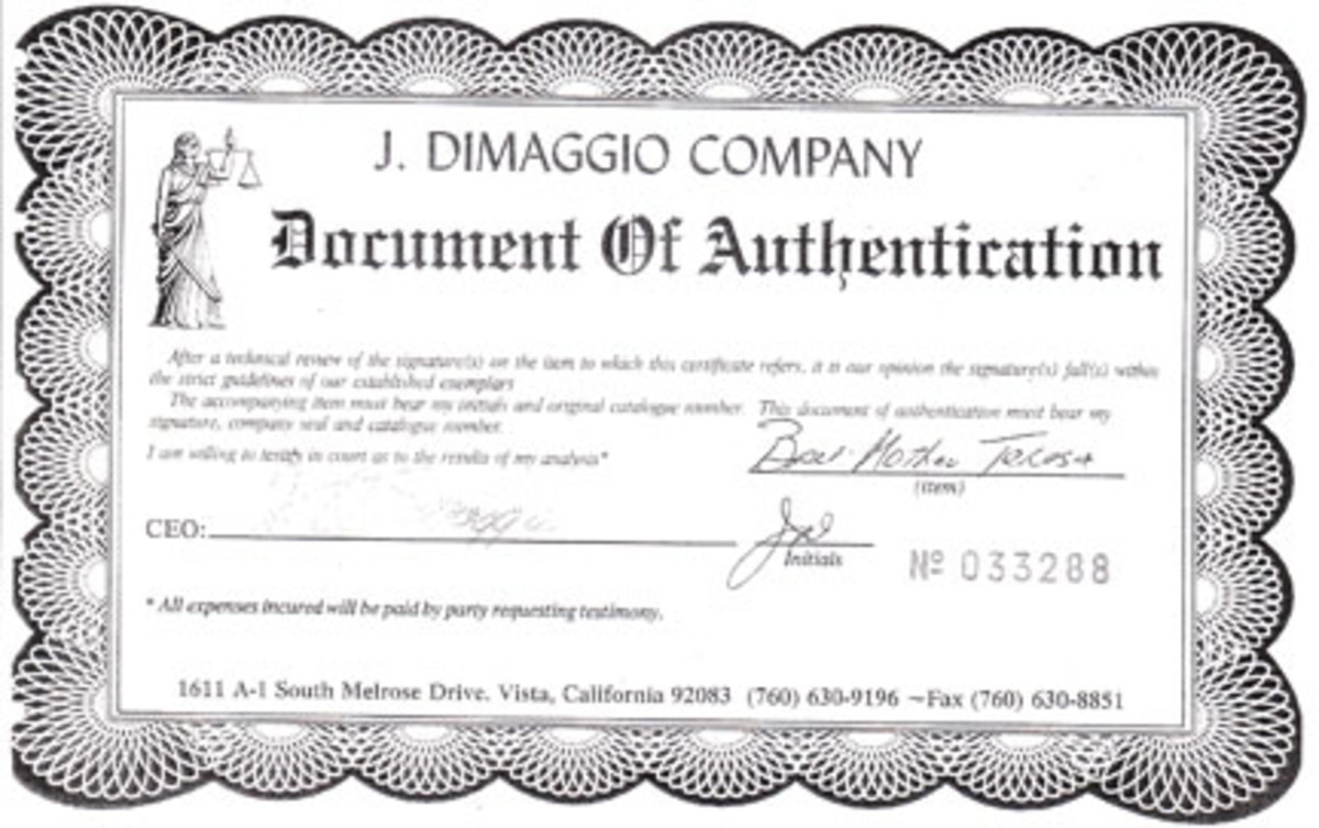 The certificate of authenticity for the Mother Teresa baseball.