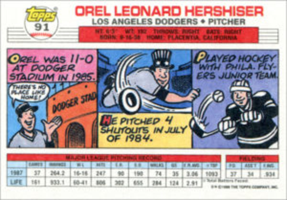 A trademark of 1988 Topps Big Baseball cards was the three-panel comic strip on the card backs, giving biographical details in a fun, visually-engaging way.