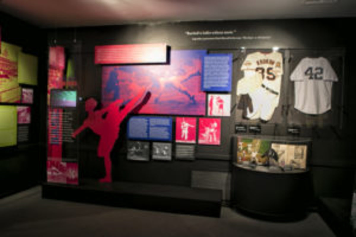 """A sampling of the baseball memorabilia on display in """"The Dancing Athlete"""" exhibit at the National Museum of Dance in Saratoga Springs, New York. (Studio di Luce photo)"""