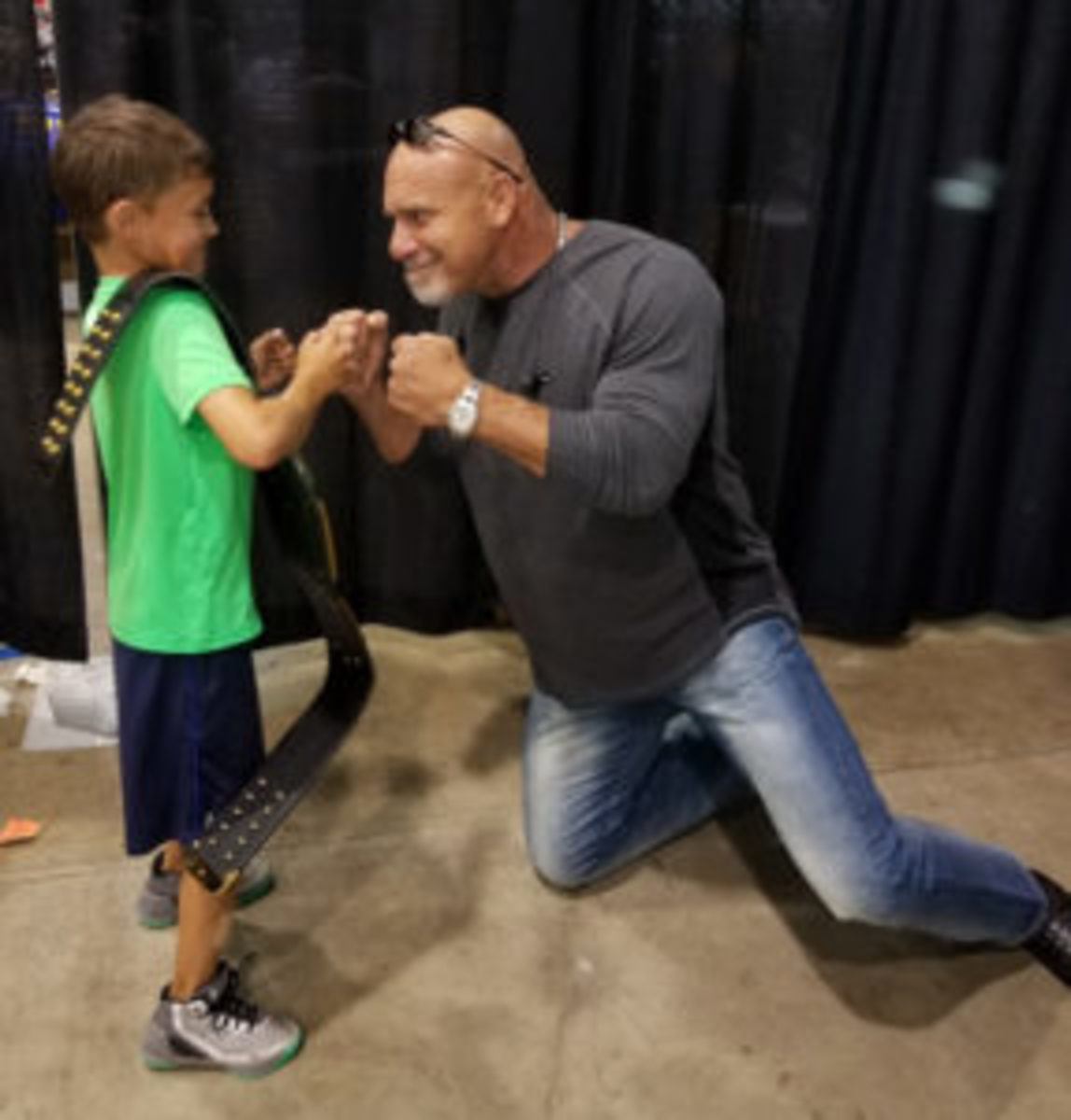 Bill Goldberg has some fun with a fan.