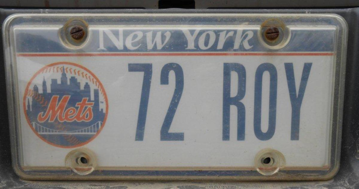 Matlack's license plate: 72 ROY, for his 1972 National League Rookie of the Year Award.