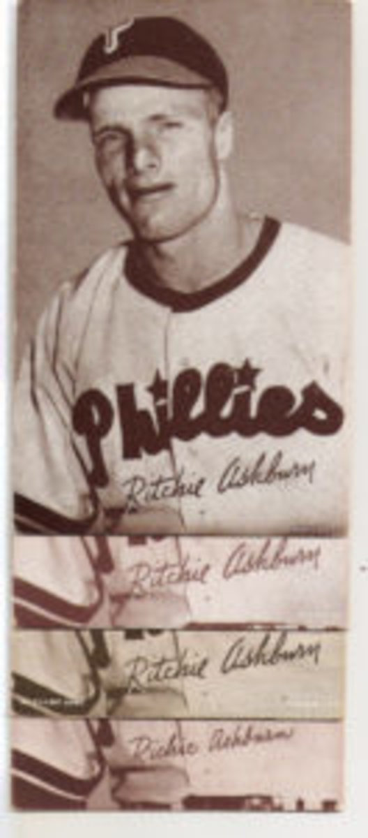 "Richie Ashburn's name appeared as ""Ritchie"" despite changes in print coloring and notations, except for one correct version (bottom) of ""Richie."""