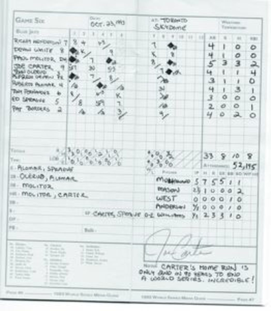 This scorecard from Game 6 of the 1993 World Series in which Joe Carter hit a walk-off home run to win the World Series for the Toronto Blue Jays is autographed by Carter.