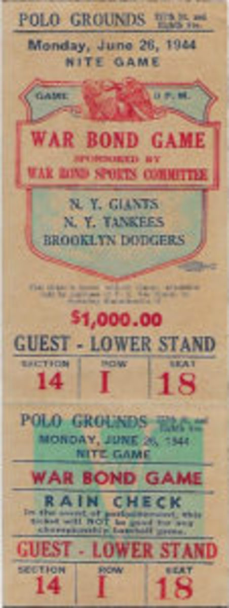 A ticket stub from the War Bond Game held on June 26, 1944.