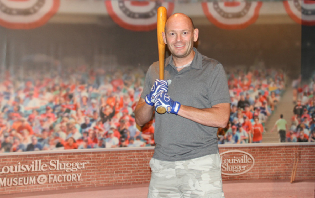 Visitors, including author Ross Forman, can swing a 1961 game-used Mickey Mantle bat.