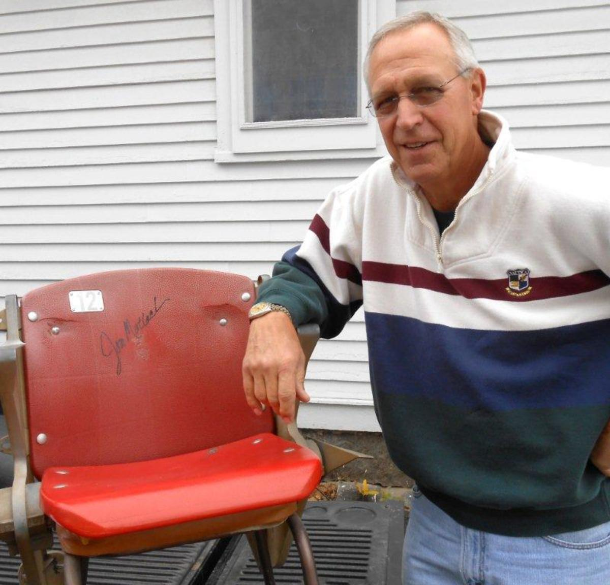 Jon Matlack pitched with the Texas Rangers from 1978-83. Here is a seat that he's autographed, taken from the Rangers' old ballpark, Arlington Stadium.