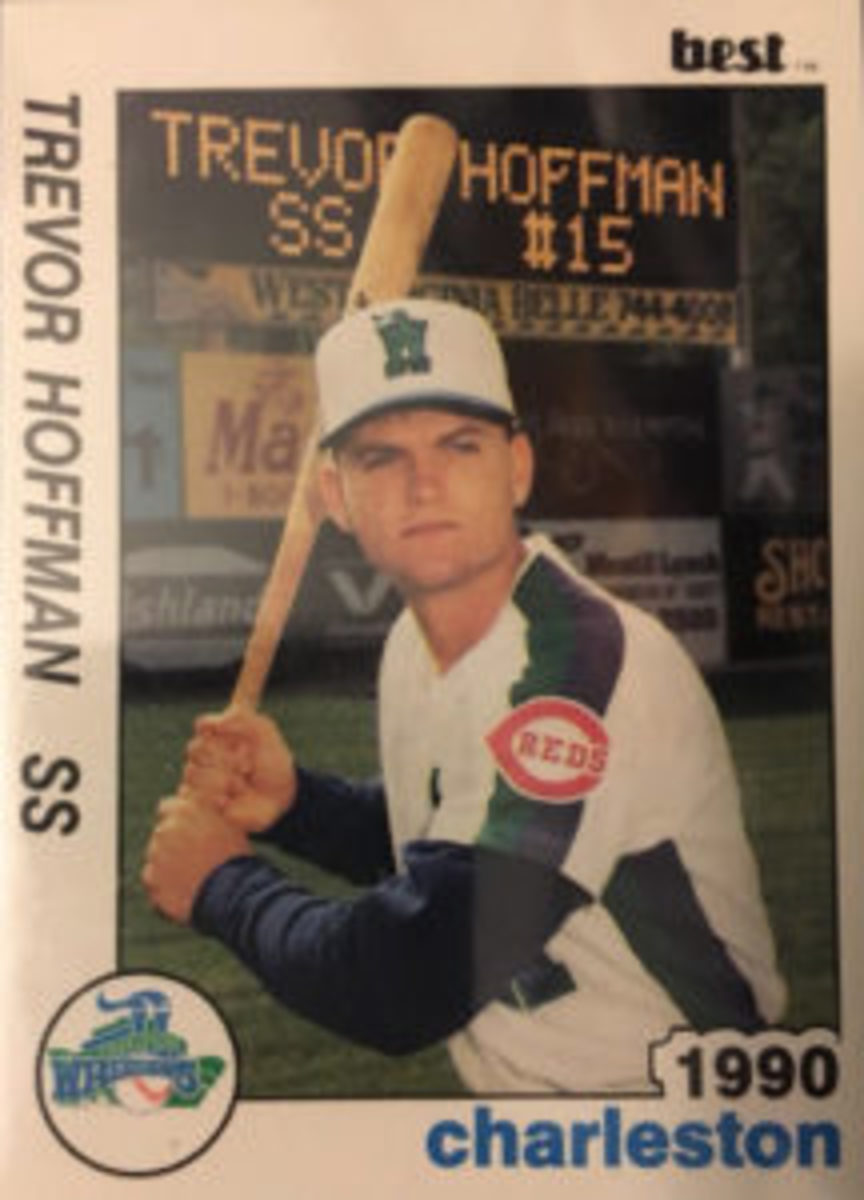 This minor league card of Trevor Hoffman features him as a shortstop in a hitting pose.