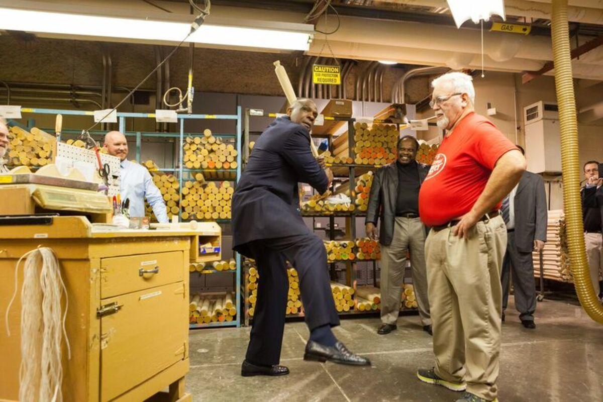 Dawson having fun at the Louisville Slugger factory. Photo copyright H&B.