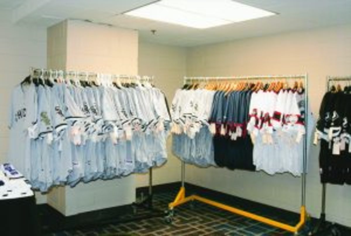 """The """"Garage Sale"""" featured game-used jerseys, pants and bats that attendees could purchase."""