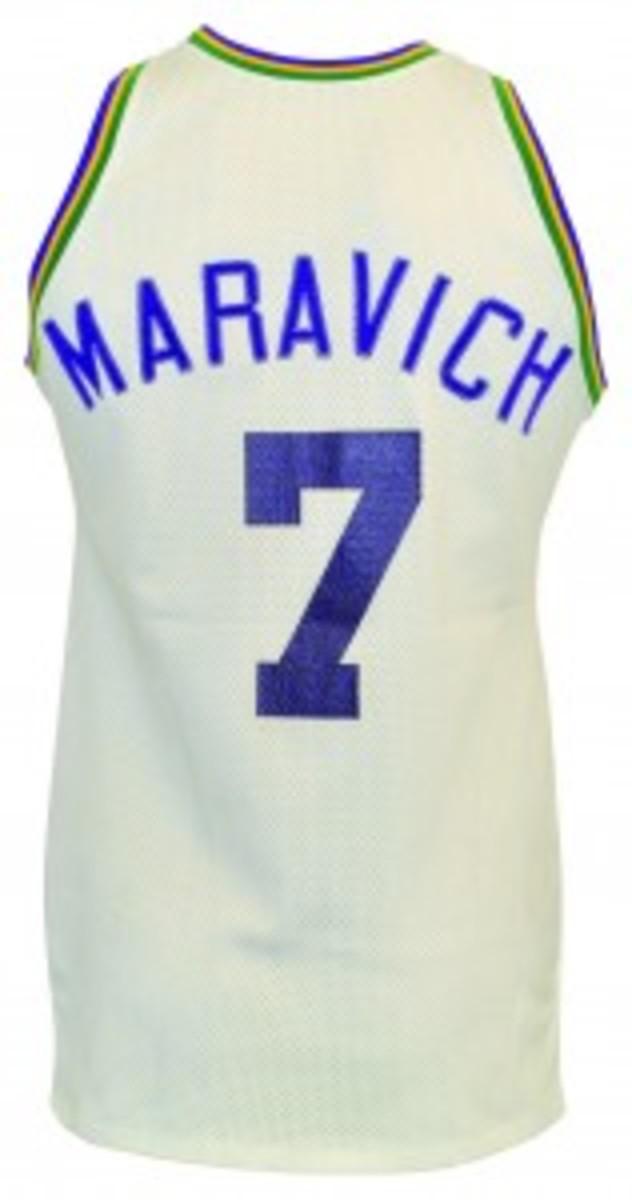 1977-78 'Pistol' Pete Maravich New Orleans Jazz game-used home jersey. Minimum bid: $5,000