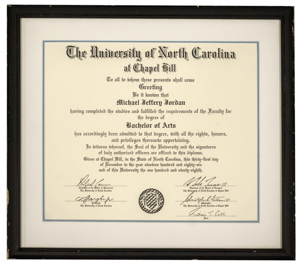Michael Jordan's 1986 University of North Carolina diploma is one of the basketball superstar's historic college-era items that will be displayed at the Long Beach Coin, Currency, Stamp & Sports Collectible Expo, January 30 - February 1, 2014. (Photos courtesy of Goldin Auctions.)