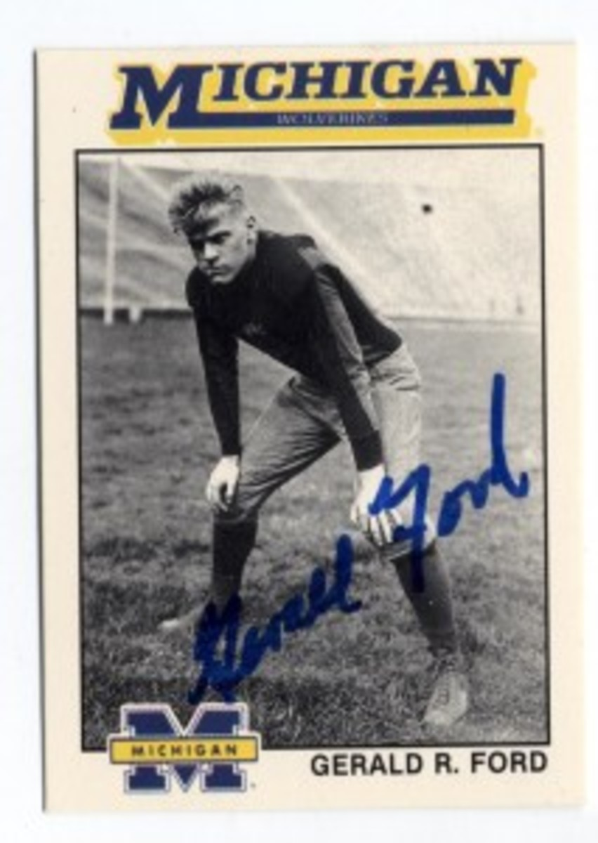 Gerald Ford signed commemorative football card