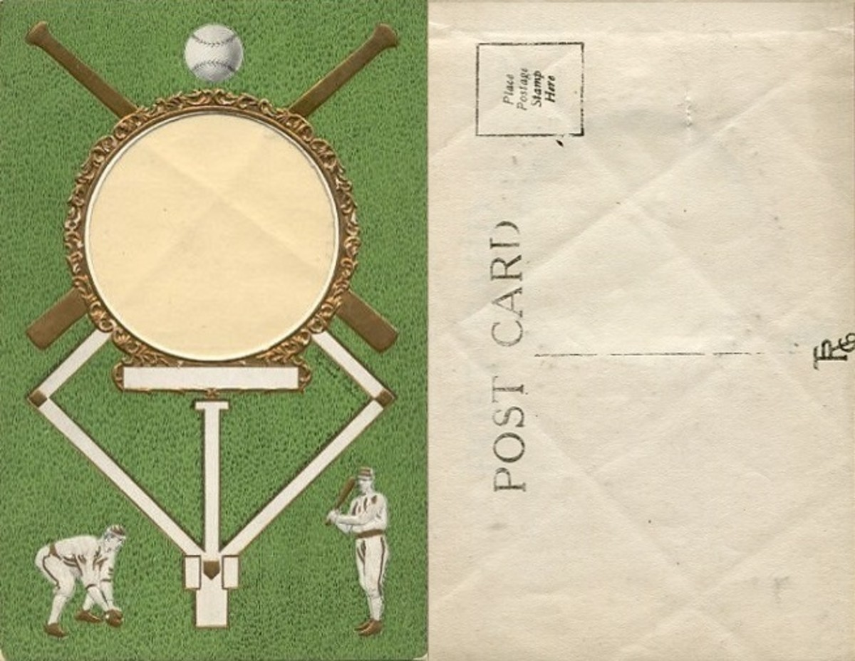 "TRC baseball theme format postcards were modified to allow anyone to ""make-your-own"" baseball postcards. The overlay leaf (on right) attached to back of the card can be seen through the front opening."