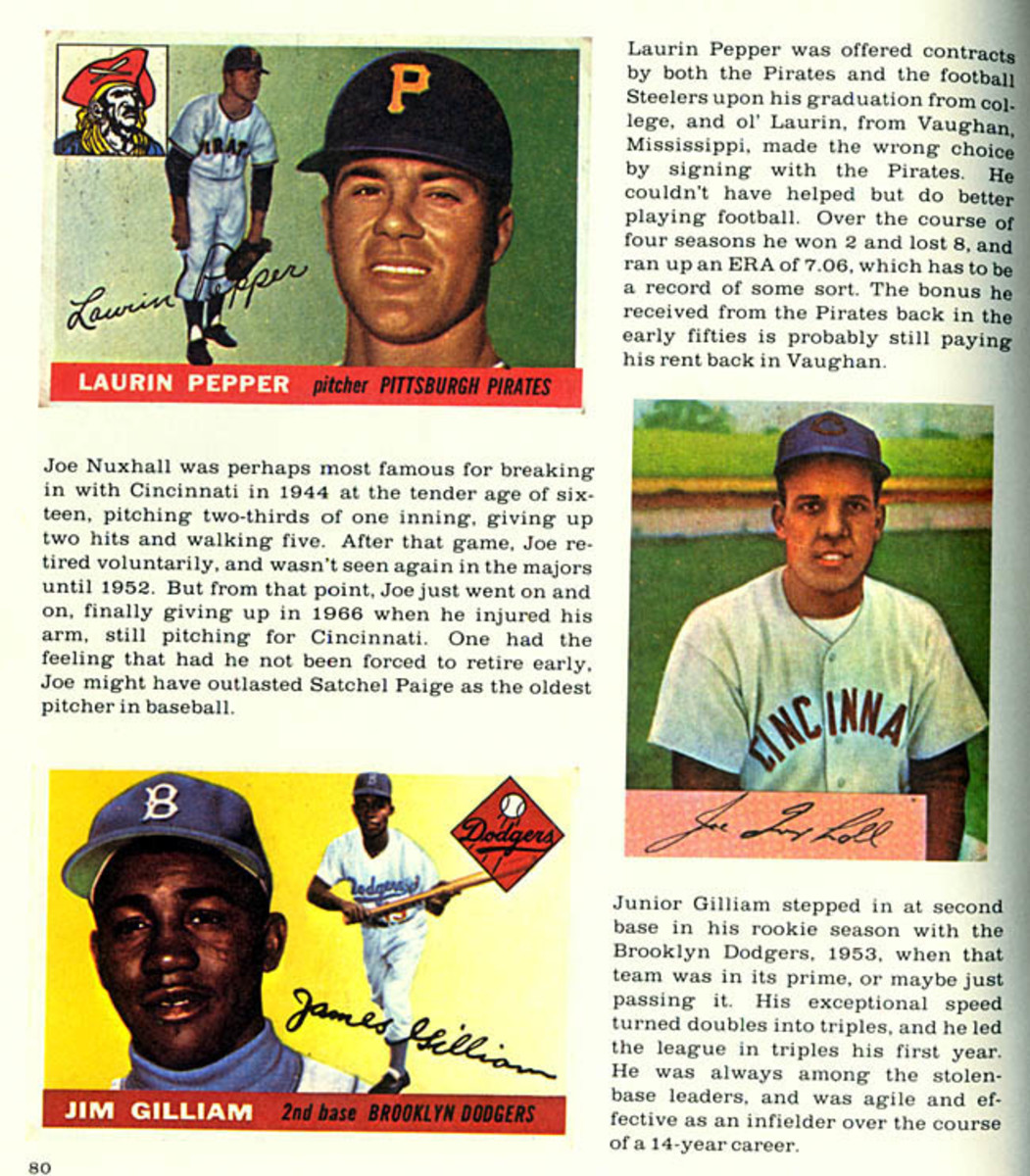Pictured is a sample page from the 'Flipping, Trading and Bubble Gum Book.' For many, this was their first detailed look at the different types of baseball cards produced over the years.