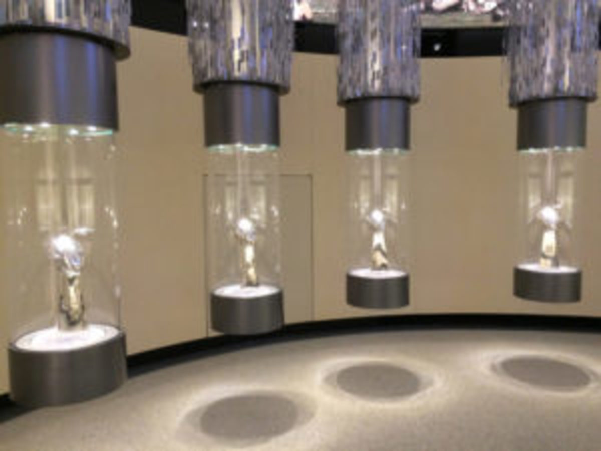 "The ""Championship"" gallery at the Green Bay Packers Hall of Fame is highlighted by the trophies from the four Super Bowls the Packers have won."