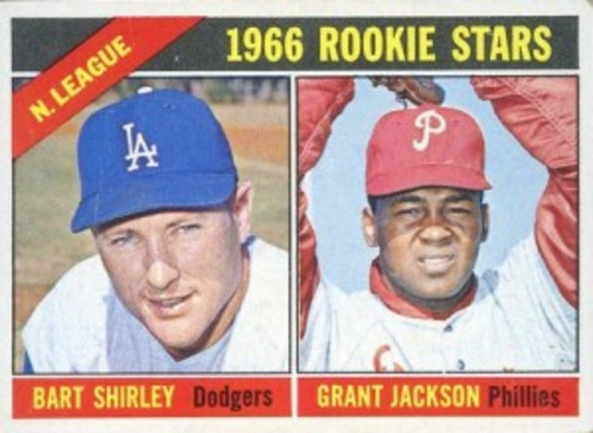 The Bart Shirley/Grant Jackson short-printed rookie is generally considered the toughest card in the 1966 set, statistics to the contrary.