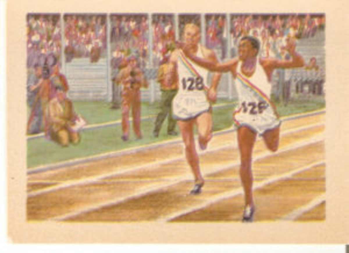 The 1956 Adventure Gum series included Lou Jones finishing the 400-meter race at the 1955 Pan Am Games.
