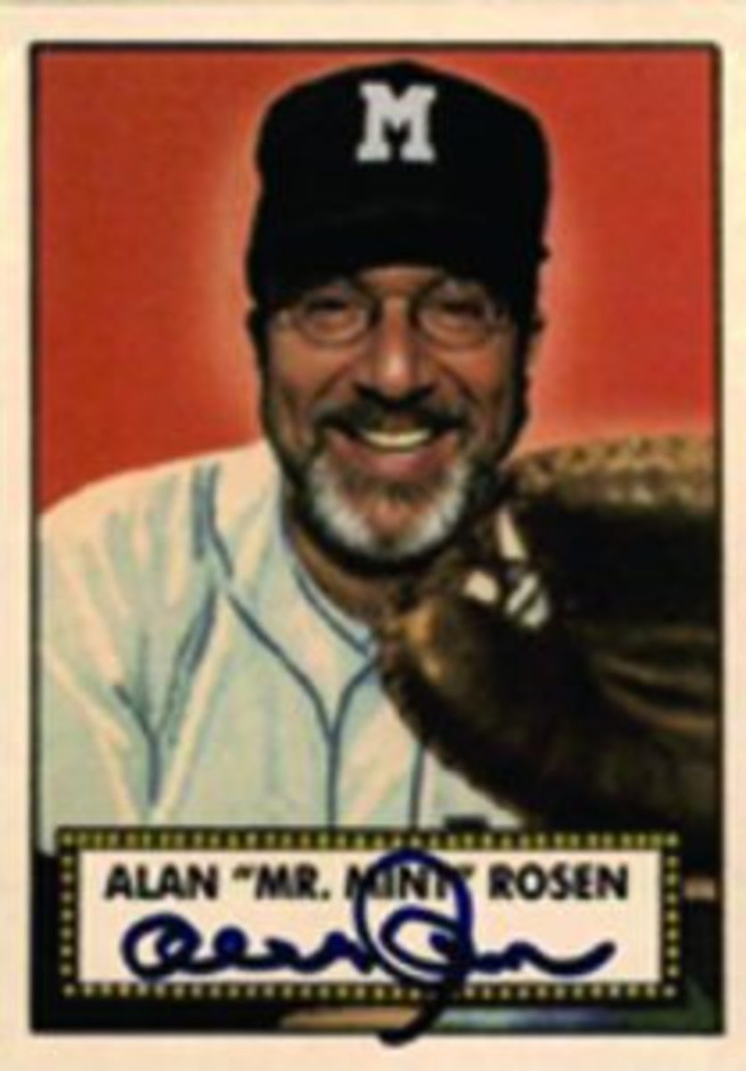 One of the promotional items created by Alan Rosen was a trading card of himself using the 1952 Topps card design.