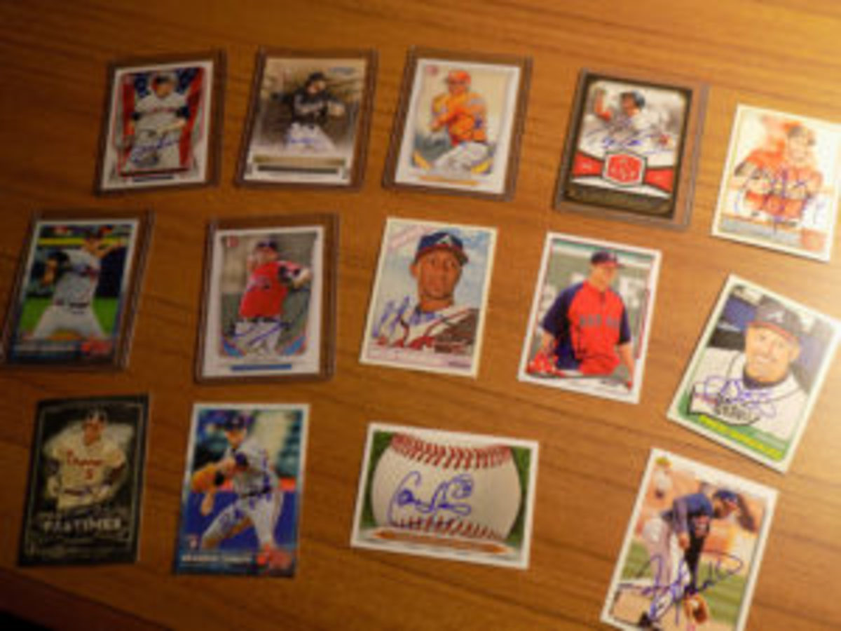 Autograph collectors can take in a large haul of autographed cards at spring training.